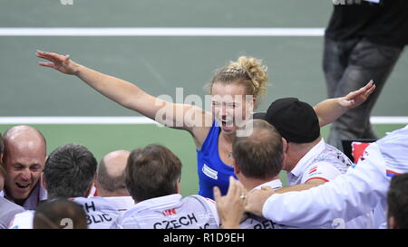 Prague, Czech Republic. 11th Nov, 2018. Czech tennis player Katerina Siniakova celebrates her win against US tennis player Sofia Kenin (not seen) in the 2018 Fed Cup final match between Czech Republic and USA, rubber 3, singles, at the O2 arena in Prague, Czech Republic, on November 11, 2018. Credit: Michal Kamaryt/CTK Photo/Alamy Live News - Stock Image