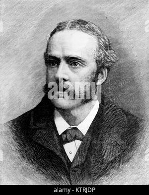 Arthur James Balfour, 1st Earl of Balfour, Black and White Illustration; - Stock Image