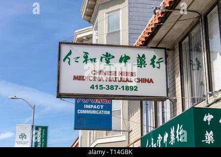 'Chinese Herbs, Medicina Natural China', sign, San Francisco, California, USA - Stock Image