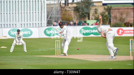 Hove Sussex, UK. 05th Apr, 2019. Chris Jordan batting for Sussex against Leicestershire in the Specasavers County Championship Division Two match at the 1st Central County Ground in Hove on a sunny but cool first morning of the season Credit: Simon Dack/Alamy Live News - Stock Image