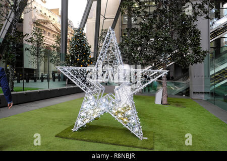 Christmas decorations outside the Leadenhall office building in the City of London UK  KATHY DEWITT - Stock Image