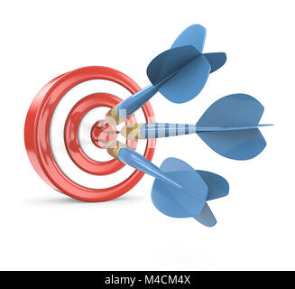 Red Dart Board with 3 blue dart arrows. 3D render. - Stock Image
