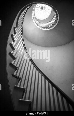 Spiral staircase, Spiral stairs, wooden spiral staircase, spiral stair case, Spiral stairs staircase, abstract, black and white, winding staircase, - Stock Image