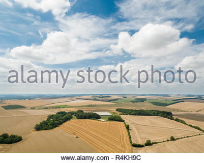 Harvest landscape aerial of combine harvester cutting summer wheat field crop with tractor trailer under blue sky on farm - Stock Image