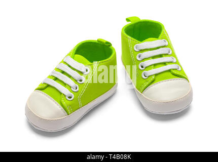 Pair Of Green Baby Shoes Isolated on White Backround. - Stock Image