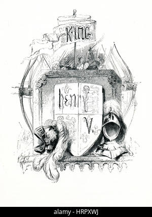 Henry V, Victorian book frontispiece for the play by William Shakespeare from the 1849 illustrated book Heroines - Stock Image