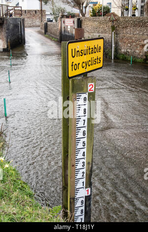 Sign - unsuitable for cyclists, at a ford crossing of the river Sid, in Sidmouth, Devon. - Stock Image
