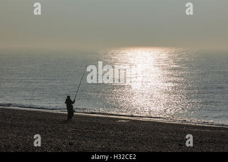 Fishing on the Beach by Dungeness, Romney Marsh, England, United Kingdom - Stock Image