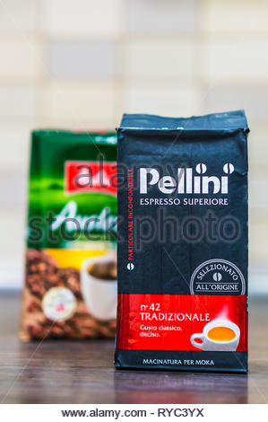 Poznan, Poland - March 9, 2019: Italian Pellini espresso grounded coffee standing on a wooden table. - Stock Image
