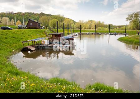 Vistula River bay in Kazimierz Dolny, Poland, Europe, beautiful natural tourist travel destination and sunny weather - Stock Image
