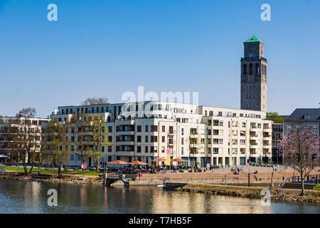 Town centre with the Ruhrbania / Ruhrquartier housing development, Mülheim an der Ruhr, Ruhr Area, North Rhine-Westphalia, Germany - Stock Image