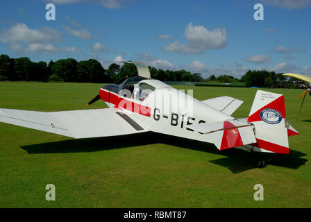 Jodel D112 light plane G-BIEO belonging to Solleys Farms Real Dairy Ice Cream of Ripple, Deal with advertising on the tail - Stock Image