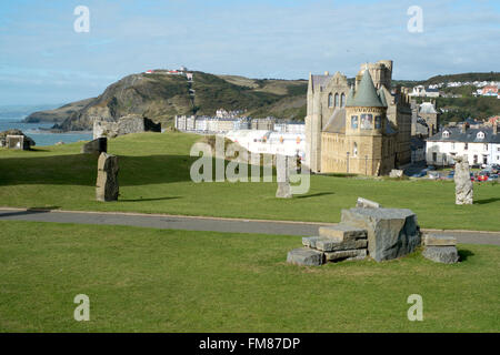 Aberystwyth looking north past the old University building - Stock Image