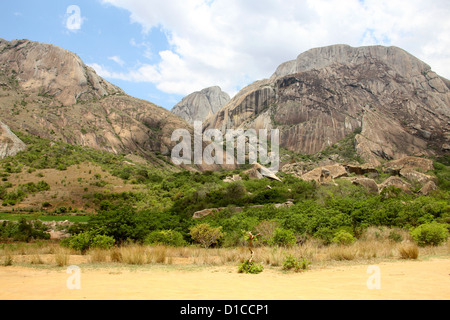Beautiful Mountain Scenery at Anja Community Reserve, Near Ambalavao, Madagascar, Africa. - Stock Image