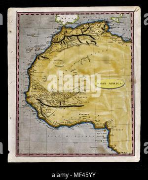 1804 Arrowsmith Map - Northwest Africa - Morocco Ivory Coast Liberia Congo Sudan Sahara Desert - Stock Image