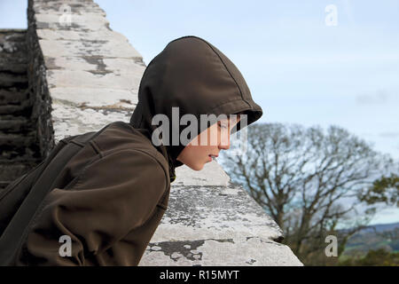 A boy looking over the edge of a  wall at Dinefwr Castle in Dinefwr Park Llandeilo, Carmarthenshire South Wales UK  KATHY DEWITT - Stock Image