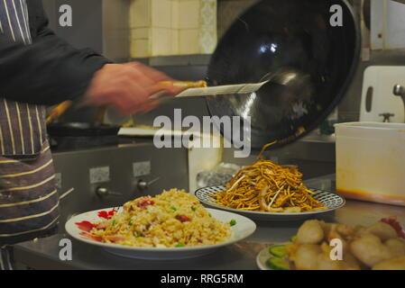 Chinese takeaway food preparation - Stock Image