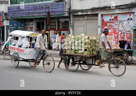BANGLADESH Hauling school children and coconuts on cycle carts, Dhaka photo by Sean Sprague - Stock Image