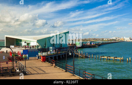 Southend on Sea Pier, with it's Royal Pavilion and Salt Cafe. - Stock Image