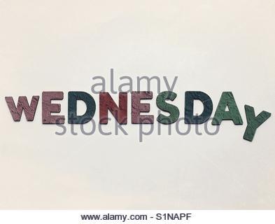 wednesDay' (word) - Stock Image