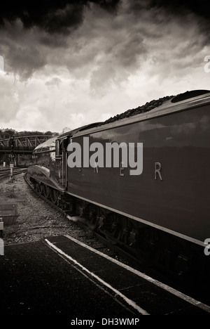 L.N.E.R (London and North Eastern Railway ) liveried class A4 Locomotive (Bittern) In toned nostalgic monotone - Stock Image