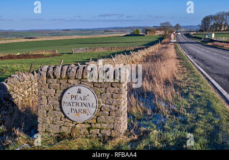 Sign for the Peak District National Park on the A515 at Pomeroy. Derbyshire, England. - Stock Image