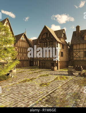 Mediaeval Street on a Bright Sunny Day - Stock Image