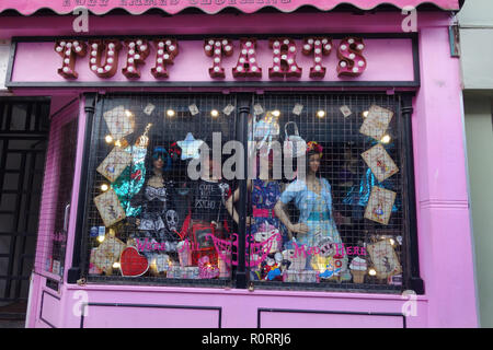 shopping in North Laine district Brighton, United Kingdom - Stock Image