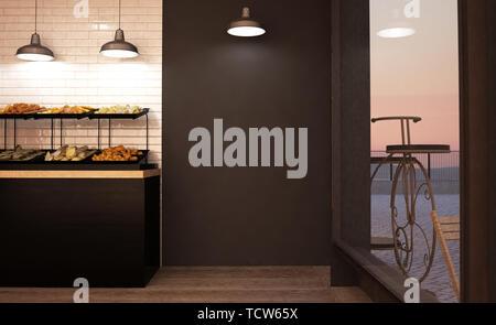 black empty wall mockup at bakery 3d rendering - Stock Image