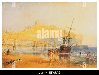 Scarborough by Joseph Mallord William Turner shrimp shrimper beach cove harbour fishing fishing boat Castle fort - Stock Image