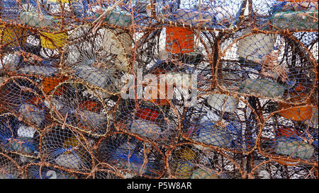 Lobster pots waiting to be loaded onto fishing boats. Essaouira, Morocco. - Stock Image
