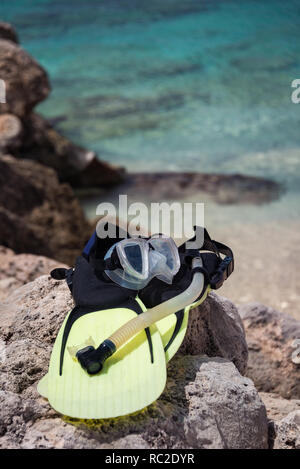 Snorelling gear on the island of Bonaire, Netherladns Antilles - Stock Image