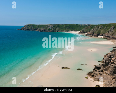 Pedn Vounder beach, at Porthcurno, Cornwall in Britain - Stock Image