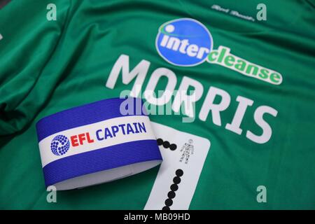 Crawley's captain's armband before the Sky Bet League 2 match between Wycombe Wanderers and Crawley Town at Adams Park in High Wycombe. 18 Nov 2017 - Stock Image