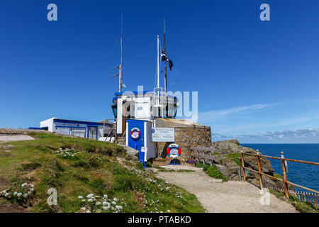The St. Ives watch tower, run by the National Coastwatch Institution, a voluntary organisation and registered charity, St. Ives, Cornwall, England, UK - Stock Image