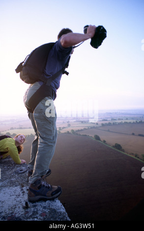 PICTURE CREDIT DOUG BLANE Anonymous BASE jumper jumping off a cold war tower Great Britain - Stock Image