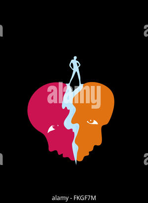 Couple separated by jealousy - Stock Image