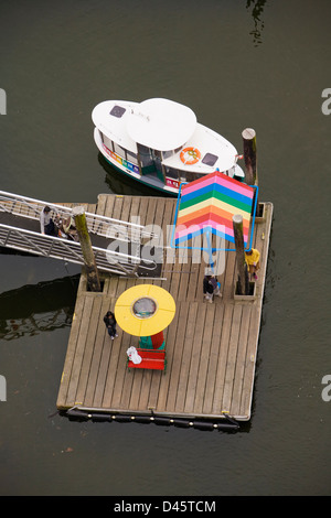 Aquabus water taxi pier at Granville Island, Vancouver, British Columbia, Canada - Stock Image