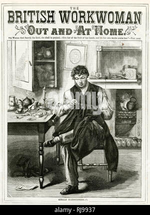 A young bachelor sewing his own clothes at home: Single Blessedness! - Stock Image
