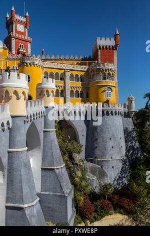 The Pena National Palace at Sintra near Lisbon in Portugal. Originally built on the Monastery of Nossa Senhora da Pena, and renovated extensively thro - Stock Image