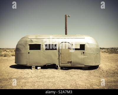 Airstream caravan in a desert in Arizona, USA. Route 66 - Stock Image