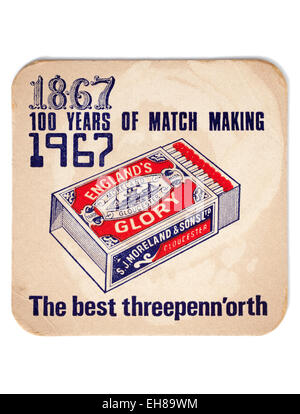 Vintage Beermat Advertising Centenary of England Glory Matches - Stock Image