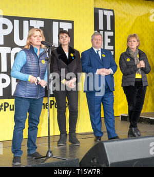 London, UK. 23rd Mar, 2019. Justine Greening MP speaks, with Caroline Lucas MP  Ian Blackford MP, Anna Soubry MP at the People's Vote March and rally, 'Put it to the People.' Credit: Prixpics/Alamy Live News - Stock Image