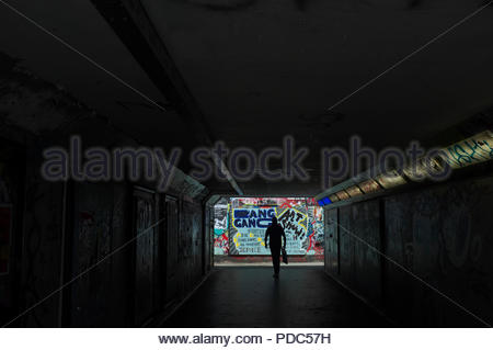 Pedestrian subway from area known as The Bearpit, at the St.James Barton Roundabout in Bristol, where the area is covered in graffiti, street art, and - Stock Image