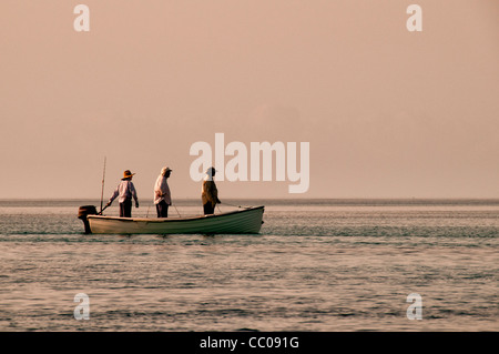 Three fishermen standing a small boat as they motor to a fishing spot on the edge of the reef at Swains Reef on - Stock Image