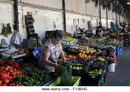 Fruit and vegetable stalls at the Mercado do Bolhão fresh produce market in Porto. (Photo by Dominic Dudley - Stock Image