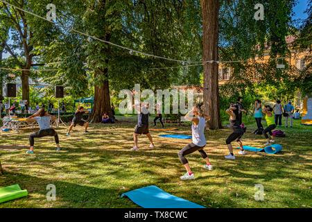Italy Piedmont Turin Valentino Botanical garden - Wellness activity at the botanical garden - Stock Image