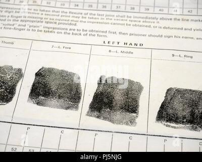 Fingerprints on an old fingerprint form as used historically by the UK Prison Service. - Stock Image