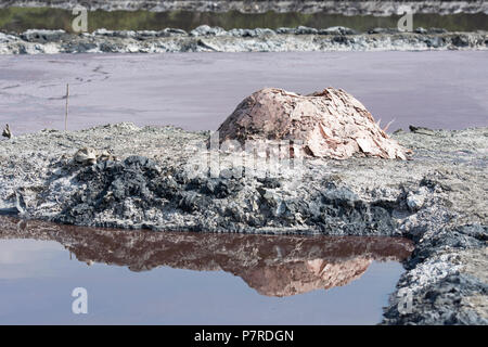 Salt Pans, Piles of Mined Salt from Salt Pans in  a Crater Lake at Queen Elizabeth National Park, Uganda, East Africa - Stock Image