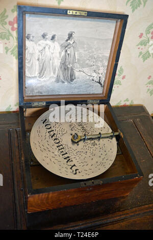 A Symphonion Music Box in the Victorian House at Milton Keynes Museum, Wolverton and Greenleys, in Milton Keynes, Buckinghamshire, UK - Stock Image